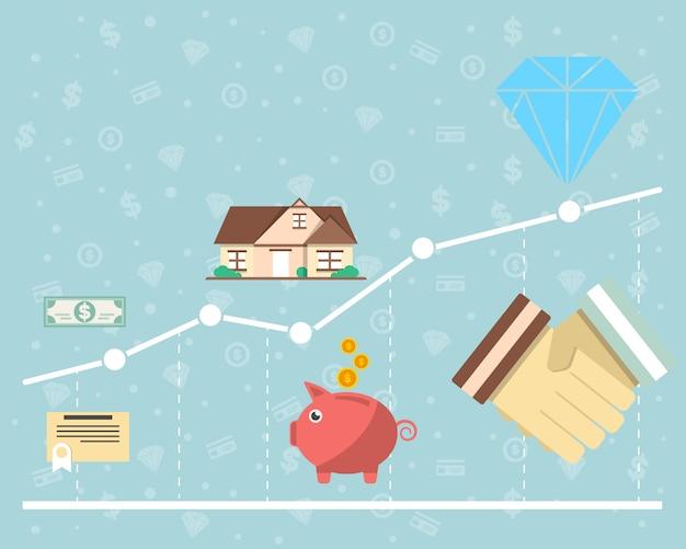 Investimento no conceito de valores mobiliários em design plano