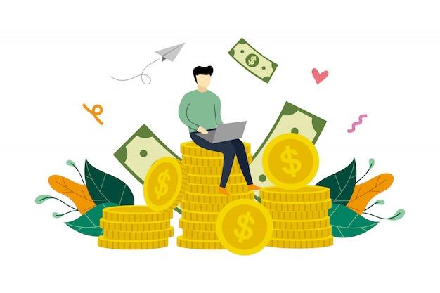 Investimento rentável com ilustração de conceito de pilha de moedas