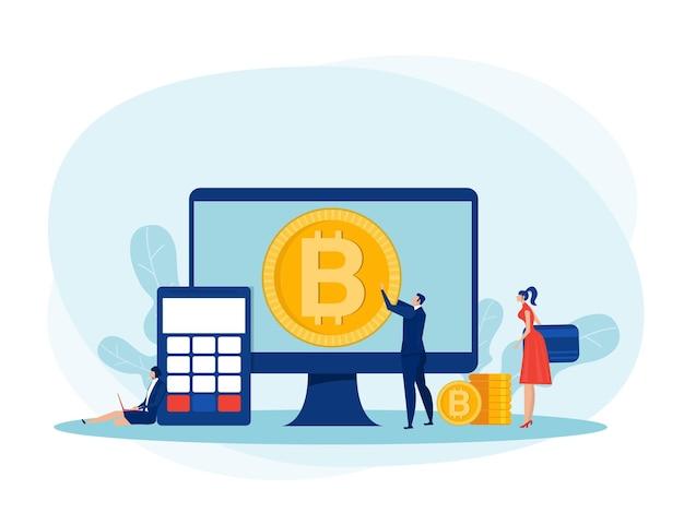 Investimentos de pessoas para bitcoin e blockchain. mineração, moeda, ilustrador de vetor de conceito de negócio digital bitcoin.