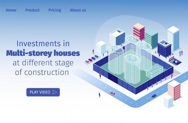 Investimentos em casas de vários andares em diferentes estágios de construção
