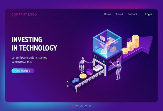 Investindo na página de destino isométrica de tecnologia
