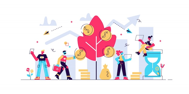 Investir dinheiro, financiadores, analisando o lucro do mercado de ações. receitas de portfólio, ganhos de ganhos de capital, royalties do conceito de investimentos. ilustração isolada violeta vibrante brilhante