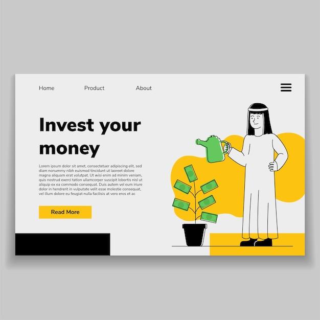 Investir dinheiro ilustração homem árabe regando fábrica de dinheiro