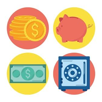 Investir dinheiro quatro conjuntos de ícones