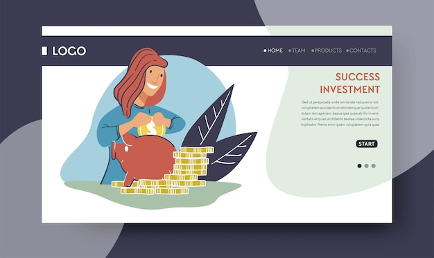 Investir e colocar dinheiro em projetos para obter receita e lucro. investidor com ativos financeiros no cofrinho. depósito ou operação bancária. modelo de destino de site ou página da web, vetor em estilo simples