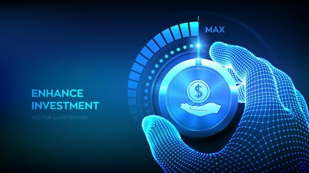Investir e financiar o conceito de negócio de crescimento. estratégia e retorno do investimento. botão do botão do invólucro da configuração da mão do wireframe na posição mais alta. estratégia de aumento de lucro. ilustração vetorial.