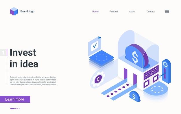 Investir no conceito de crowdfunding ideia isométrica inicial de negócios de fundo de página de destino
