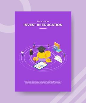 Invista em um modelo de pôster de conceito de educação com ilustração de vetor de estilo isométrico