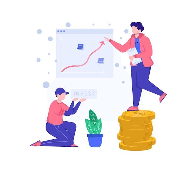 Invista na ilustração. duas pessoas estão apresentando sobre investimento