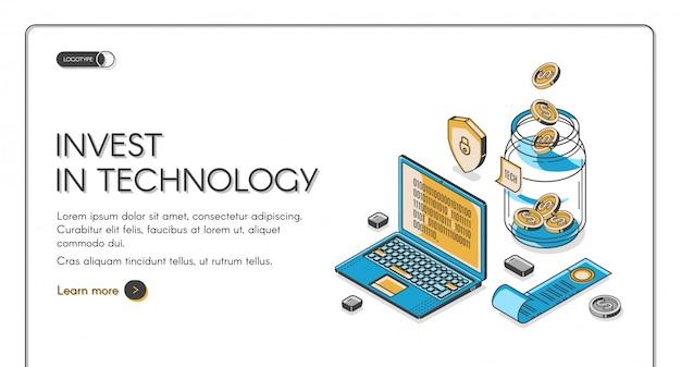 Invista no modelo de página de destino isométrica de tecnologia