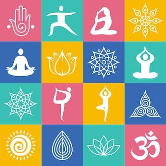 Ioga apresenta ícones, símbolos de ioga e elementos de design