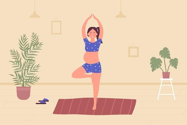 Ioga com meditação na gravidez no interior de um apartamento