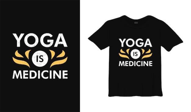 Ioga é medicina camiseta design pôster lettering ilustração vetorial tipográfica
