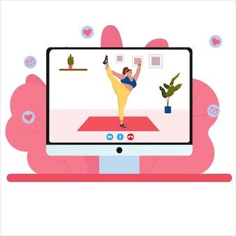 Ioga online. além disso, mulher de tamanho fazendo ioga em vídeo. ilustração vetorial plana