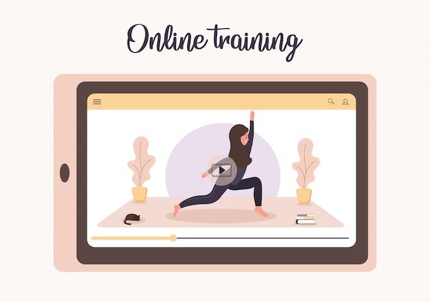 Ioga online e esporte no conceito de casa. fazendo exercícios com um aplicativo móvel. mantenha-se saudável e em forma durante a epidemia e a quarentena. ilustração de mulher árabe em hijab ensinando ioga via internet.