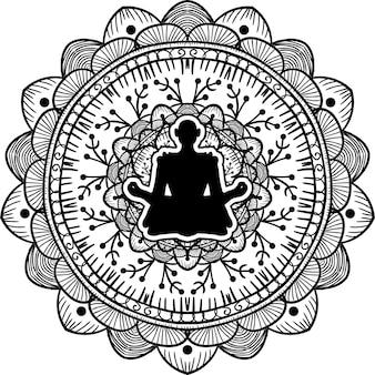 Iogue sentado em silhueta negra de pose de lótus. ioga, ilustração de arte de mandala de estilo de vida saudável