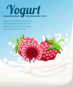 Iogurte com sabor de framboesa. salpicos de leite e bagas de framboesas. anúncios de iogurte em. ilustração em fundo azul claro. lugar para o seu texto.