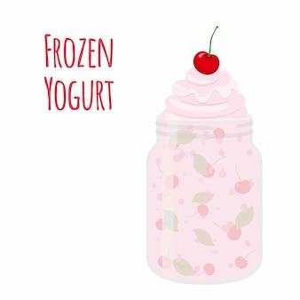 Iogurte congelado com cereja em frasco de vidro.