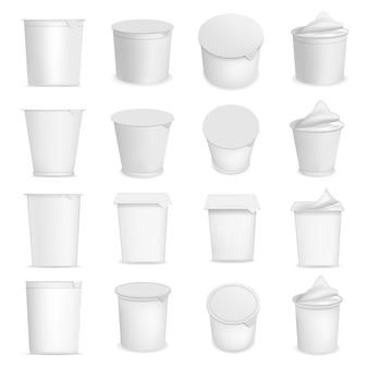 Iogurte copo caixa sobremesa embalagem maquete definido. ilustração realista de 16 modelos de embalagens de sobremesa de caixa iogurte xícara para web