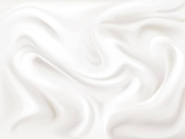 Iogurte, creme ou ilustração de textura de seda do padrão de fluxo ondulado de tinta branca líquida 3d