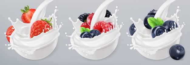 Iogurte de frutas da floresta. morango, framboesa, mirtilo. salpicos de baga e leite misturados. conjunto de ícones realista 3d
