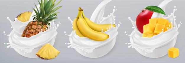 Iogurte de frutas. salpicos de banana, manga, abacaxi e leite. conjunto de ícones realista 3d