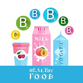 Iogurte fresco e leite com logotipo de frutas conjunto de produtos orgânicos isolado e saudável conceito de comida