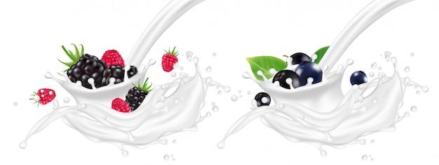 Iogurte realista espirra com ilustração de bagas