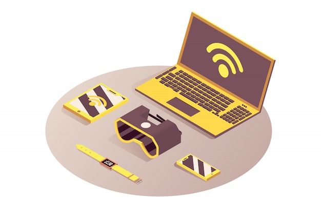 Iot, dispositivos portáteis isométricos