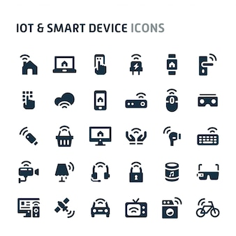 Iot e conjunto de ícones de dispositivos inteligentes. fillio black icon series