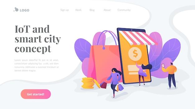 Iot e modelo de página de destino de cidade inteligente