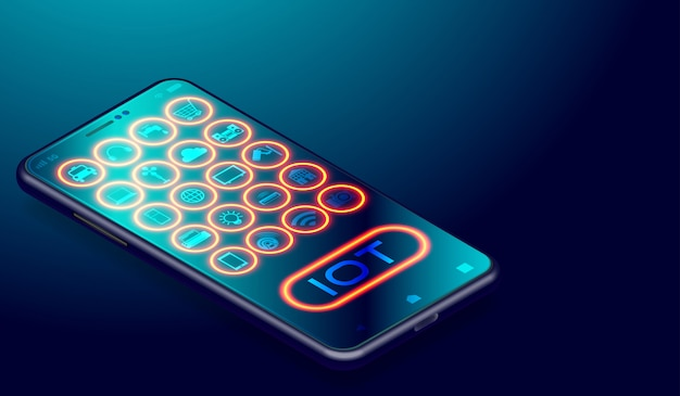 Iot internet de coisas em aplicativos de smartphones
