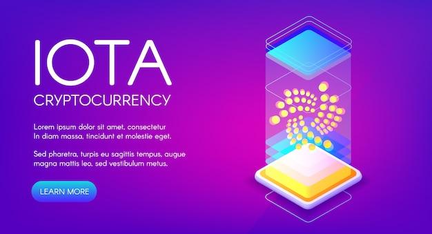 Iota cryptocurrency ilustração da tecnologia de mineração blockchain.