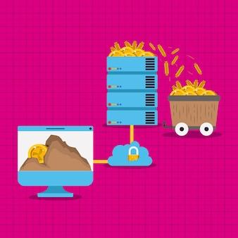 Iota mineração conjunto de ícones
