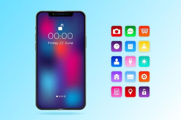 Iphone 11 realista com aplicativos em tons de azul degradê