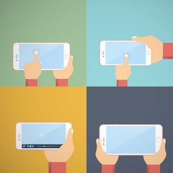 Iphone 7 com mãos usando e tela de toque