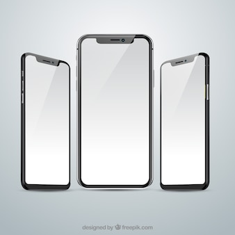 Iphone x com diferentes pontos de vista em estilo realista