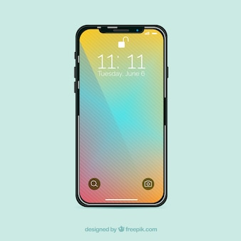 Iphone x com papel de parede gradiente