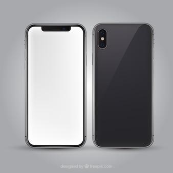 Iphone x com tela branca em estilo realista
