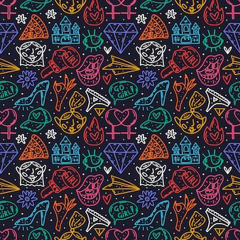Ir menina bonito dos desenhos animados mão desenhada doodle padrão sem emenda. projeto de néon engraçado. isolado em fundo escuro símbolos feministas. dia da mulher. direitos da mulher.