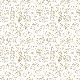 Ir menina bonito dos desenhos animados mão desenhada doodle padrão sem emenda. projeto monocromático engraçado. isolado no fundo branco símbolos feministas. dia da mulher. direitos da mulher.