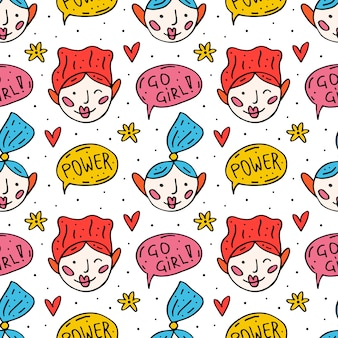 Ir menina doodle bonito mão desenhada dos desenhos animados