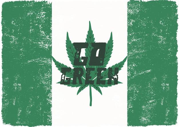 Ir pôster verde. o canadá legaliza. com folha de maconha. tema de cannabis.