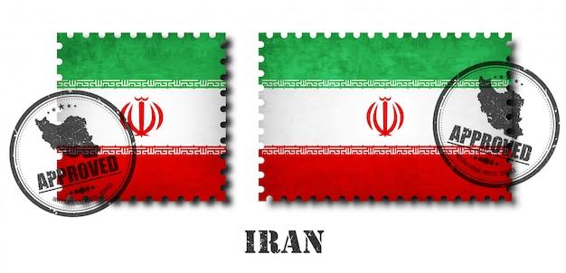Irã ou selo postal do padrão da bandeira iraniana