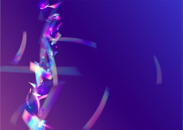 Iridescent confetti. ilustração de festa de natal. arte de luxo. efeito arco-íris. folheto brilhante. folha de unicórnio. ouropel metal rosa. brilho cadente. violet iridescent confetti