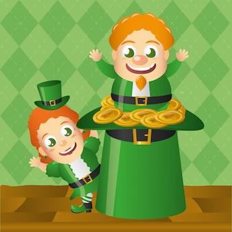 Irlandês dudne salidno de um chapéu verde, dia de são patrício