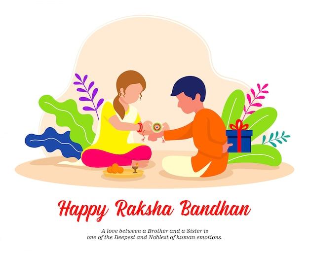 Irmão e irmã comemorando o festival raksha bandhan. festival tradicional indiano. ilustração.