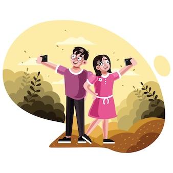 Irmão e irmã tirando foto de selfie