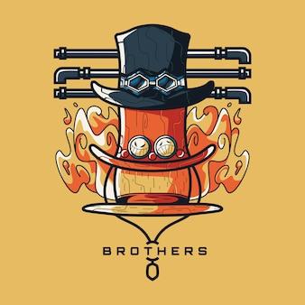 Irmãos ilustração e design de tshirt