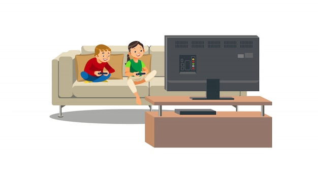 Irmãos jogando videogame em casa vector